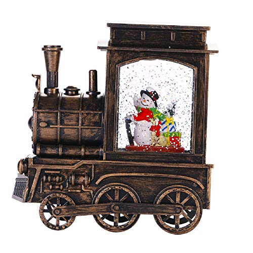 Christmas Snow Globe Lantern, Musical Lighted Water Spinner Train Xmas Lantern Glitter Swirl Water Globe LED Battery Operated/USB Powered with 8 Songs & 6 Hr Timer, Scene Snowman in Bronze Train