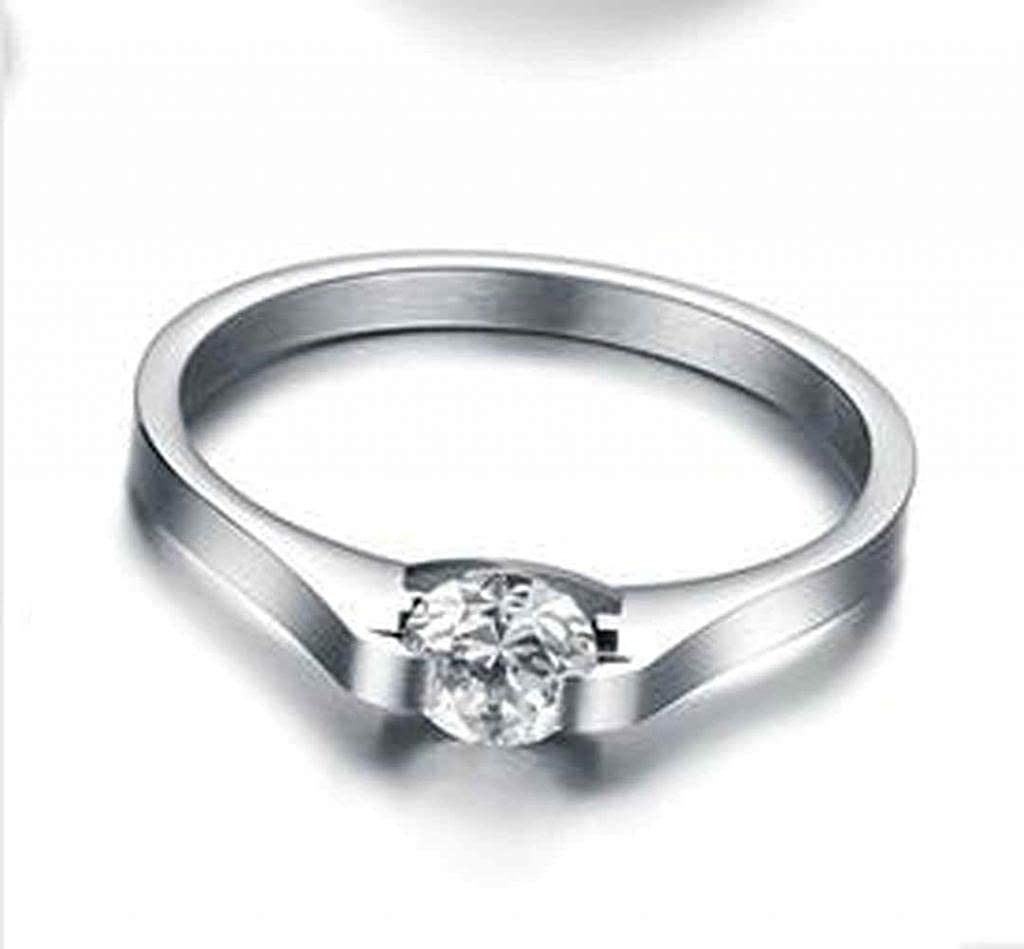 EoCot Stainless Steel Ring Channel Setting Cubic Zirconia Wedding Ring for Women