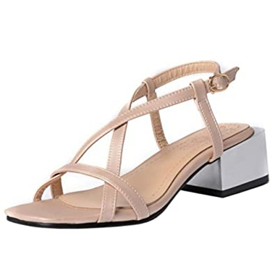 90ce124a21d79 TAOFFEN Femmes Mode Sangle Croisee Sandales Mariage Chaussures Beige Size  31 Asian