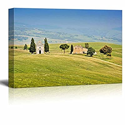 Beautiful Landscape with Cappella Della Madonna di Vitaleta in Val d Orcia Province of Siena Tuscany Italy - Canvas Art Wall Art - 16