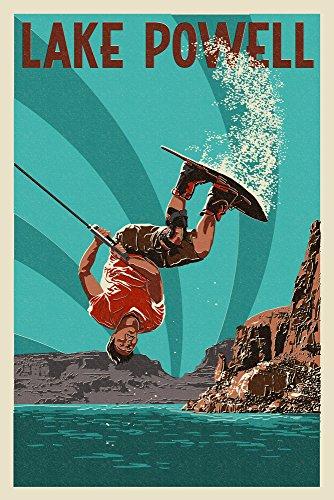 Lake Powell - Wakeboarder Letterpress (12x18 Fine Art Print, Home Wall Decor Artwork Poster) (Lake Powell Print)