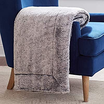 "Rivet Faux Fur Throw Blanket, Soft and Stylish, 80"" x 60"", Black - The contrasting textures of this throw make it a visually interesting piece for draping. One side is plush faux fur, while the other is a simple black. Whether used in a living space or a bedroom, it will add luxury to any style decor. 80""L x 60""W Dry clean or spot clean only; do not machine wash - blankets-throws, bedroom-sheets-comforters, bedroom - 51grNhkSIYL. SS400  -"