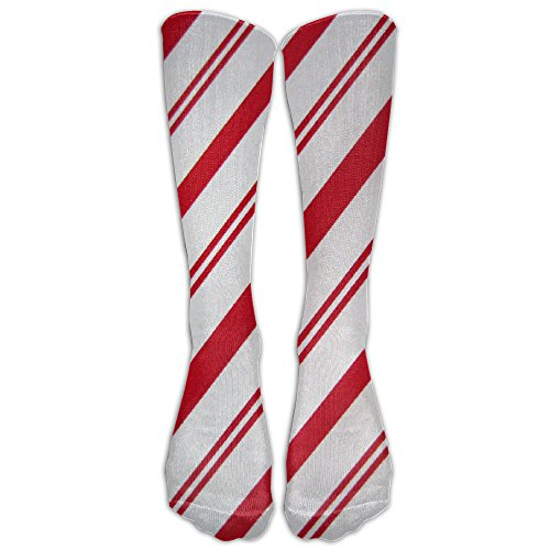 Candy Cane Background.jpg Comfortable Cartoon Star Knee Socks Women Softball Cosplay Over Knee Long Tube Compression (Candy Cane Cosplay)