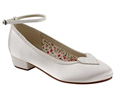 9ef14feac Miss Rainbow Kids Low Heeled Court Shoes Girls - Minnie - Ivory Satin &  Silver Shimmer