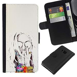 A-type (Sun Summer Flowers Painting Sunglasses) Colorida Impresión Funda Cuero Monedero Caja Bolsa Cubierta Caja Piel Card Slots Para HTC One M7