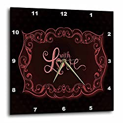 3dRose dpp_152640_2 A Pretty Pink Flourish Frame with The Words with Love Wall Clock, 13 by 13-Inch