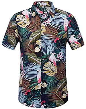 Mens Cotton Short Sleeve Hawaiian Shirt-Tropical Print Beach Shirt