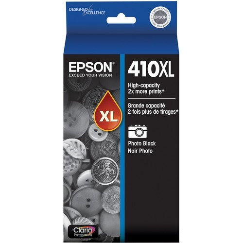 Epson 410XL Claria Premium High-Capacity Photo Black Pigment Ink Cartridge with Sensormatic for XP-530, XP-630 & XP-830 Printers