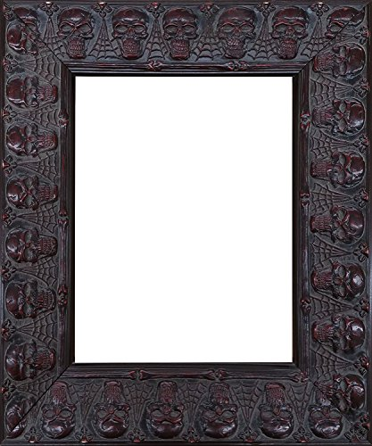 l Mirror with Embossed Skulls and Spiderwebs Goth Wooden Frame (16x20 Inch) 20 1/2 x 24 1/2 Inch ()