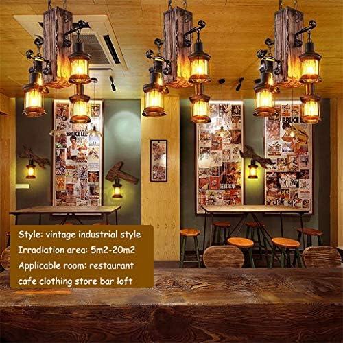 Pendelleuchte Klassisch Vintage Kronleuchter Retro Hängeleuchte Design Holz Höhenverstellbar E27 Metall Antik Hängelampe Industrial Schlafzimmer Deckenlampe Wohnzimmer Loft Bar Café Beleuchtung