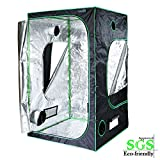 Quictent SGS Approved Eco-friendly 48''x48''x78'' Reflective Mylar Hydroponic Grow Tent with Obeservation Window and waterproof Floor Tray for Indoor Plant Growing 4'x4'