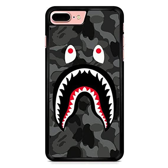 on sale 70917 52421 iPhone 7 Plus Case, iPhone 8 Plus Covers, BapeShark Logo on Red Camo  Background Hard Cases Cover for iPhone 7 8 Plus 5.5 inches (Red) (Black)