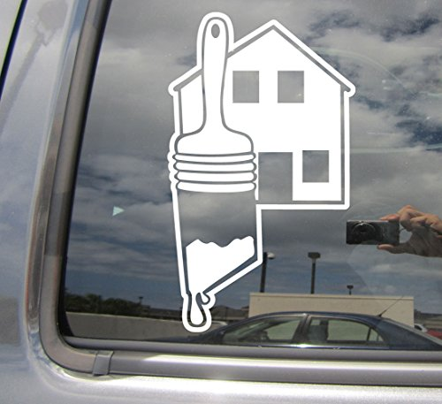 Right Now Decals - Painter Paint Brush and House - Construction Cars Trucks Moped Helmet Hard Hat Auto Automotive Craft Laptop Vinyl Decal Window Wall Sticker 10378
