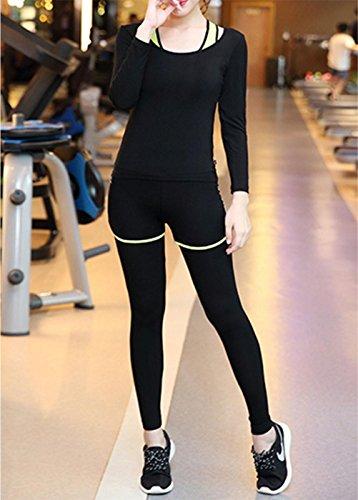 YN Ensemble de costume de yoga manches longues Slim vêtements de sport était mince de remise en forme Running yoga sportswear m