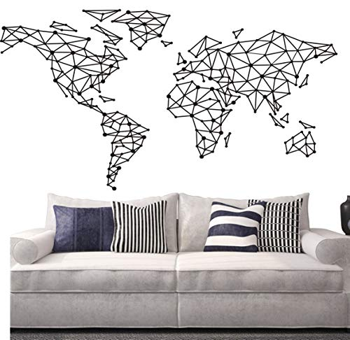 Geometric Design World Map Wall Decal Home Decoration Art Special...