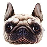 Prizemall 3D Animal Dog Pug Plush Car Seat Neck Headrest Pillow Soft Sofa Chair Back Support Cushion, Perfect for Dog Lovers
