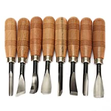 Colybecation New 8pcs Woodworking Professional Gouges Wood Carving Hand Chisel Tool Set