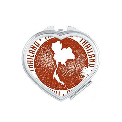 Kingdom of Thailand Thai Traditional Customs Culture I Love Thailand Map Art Illustration Heart Compact Makeup Pocket Mirror Portable Cute Small Hand Mirrors by DIYthinker