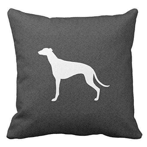 Greyhound Silhouette Decorative Pillow Case with Invisible Zipper Canvas Throw Pillow Cover for Sofa and Couch 18 x 18