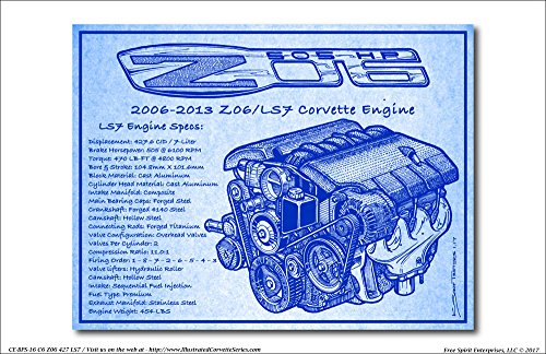2006-2013 C6 Z06 LS7 Corvette Engine Blueprint Series Art Print