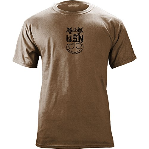- USAMM Officially Licensed Vintage Navy E9 Master Chief Petty Officer Rank Veteran T-Shirt (2X-Large, Heather Brown)