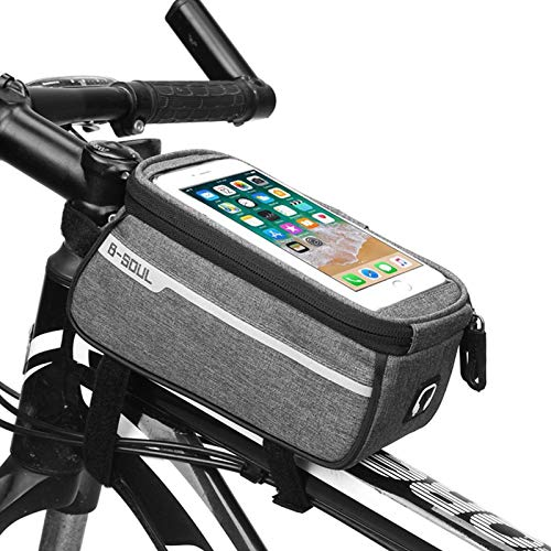 PJCSEC Bike Phone Front Frame Bag Bicycle Top Tube Handlebar Bag Bike Phone Mount Pack with Touch Screen Holder, Cycling Accessories Pouch for Mountain Road Bike Fit iPhone X XS Max XR Plus Under 6.5""