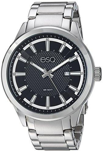 ESQ Men's Dress Analog-Quartz Watch with Stainless-Steel Strap, Silver, 22 (Model: ()
