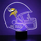 Mirror Magic Store Minnesota Vikings Football Helmet LED Night Light with Free Personalization - Night Lamp - Table Lamp - Featuring Licensed Decal