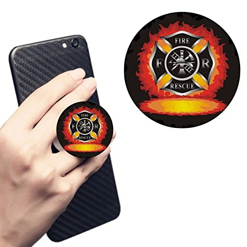 Pop Cell Phone Holder Socket.Expanding Stand and Grip Mount Holder (black).Fire and Rescue Flames Firefighter