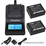Kastar Fast Charger and Battery(2-Pack) for Fujifilm NP-W126 BC-W126 and FinePix HS30EXR FinePix HS33EXR FinePix HS50EXR FinePix X-A1 FinePix X-E1 FinePix X-E2 FinePix X-M1 FinePix X-Pro1 FinePix X-T1