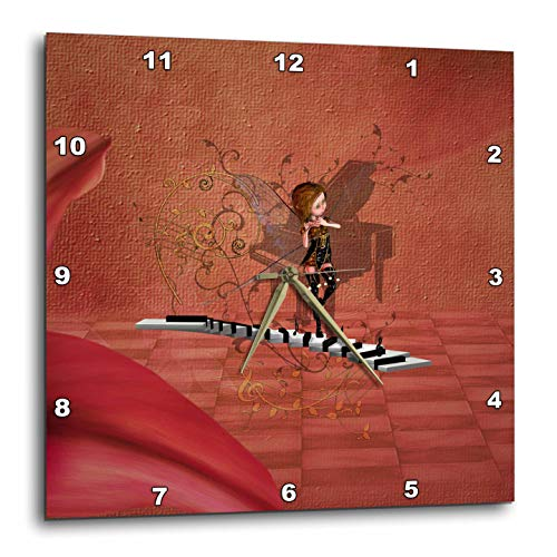 3dRose Heike Köhnen Desing Music - Little fairy dancing on a piano on vintage background - 13x13 Wall Clock (dpp_289156_2)