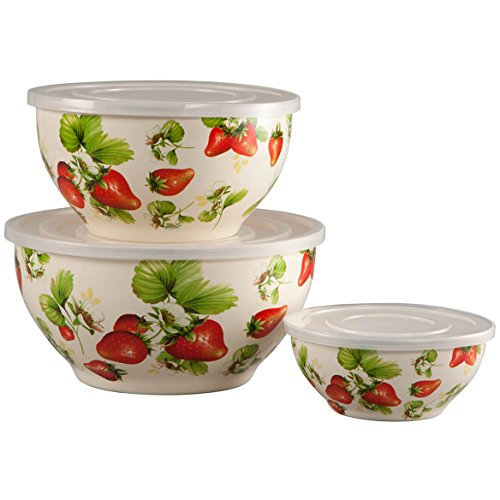 Metal Nested Mixing Bowls with Lids, Strawberry Design, 6 Piece Value Set ()