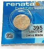 1 x Renata - Batería de botón de litio 395 SR927SW, suiza