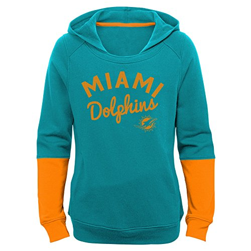 Game Day Hoodie - OuterStuff NFL Girls 7-16 Game Day Pullover Hoodie-Aqua-XL(16), Miami Dolphins