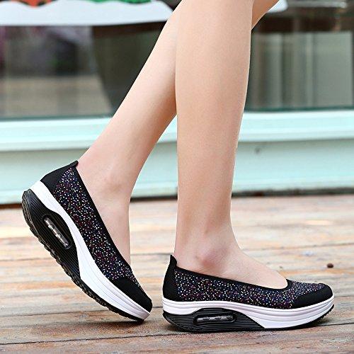 EnllerviiD Women Slip-On Toning Walking Shoes Fashion Floral Lace Platform Sneakers 2966 Black zuda3