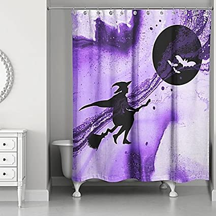 Witch Shower Curtain In Purple Black Pack Of 2