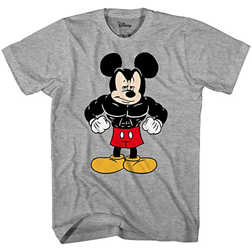 Disney Mickey Mouse Tough Men's Adult Graphic Tee T-Shirt (Grey Heather, XX-Large) -