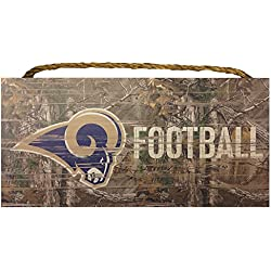Los Angeles Rams NFL Team Logo Garage Home Office Room Camo Wood Sign with Hanging Rope - Realtree Camouflage Football