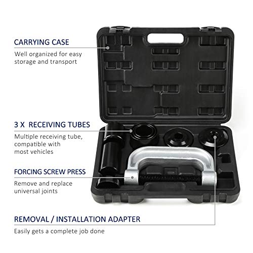 OrionMotorTech Heavy Duty Ball Joint Press & U Joint Removal Tool Kit with 4wd Adapters, for Most 2WD and 4WD Cars and Light Trucks (BK) by OrionMotorTech (Image #1)