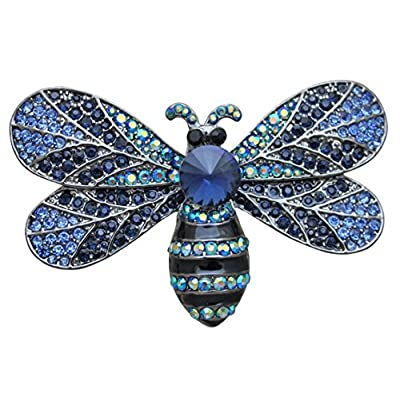 Cheap KIRKS FOLLY BUZZING AROUND BEE PIN - large pin - Antique Silvertone / blue free shipping