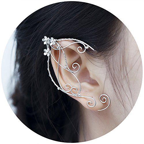 Aifeer Elf Ear Cuffs for Non Pierced Ears, Aifeer 1 Pair Silver Filigree Pointed Fairy Elven Cosplay Fantasy Costume Flower Bridal Wedding Earrings (Non-costume Jewelry)