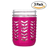 JarJackets Silicone Mason Jar Protector Sleeve - Fits Ball, Kerr 16oz (1 pint) WIDE-Mouth Jars | Package of 3 (Sangria)