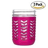kerr pint mason jars - JarJackets Silicone Mason Jar Protector Sleeve - Fits Ball, Kerr 16oz (1 pint) WIDE-Mouth Jars | Package of 3 (Sangria)