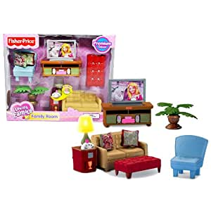 Fisher price year 2009 loving family dollhouse premium decor furniture accessory set for Fisher price loving family living room
