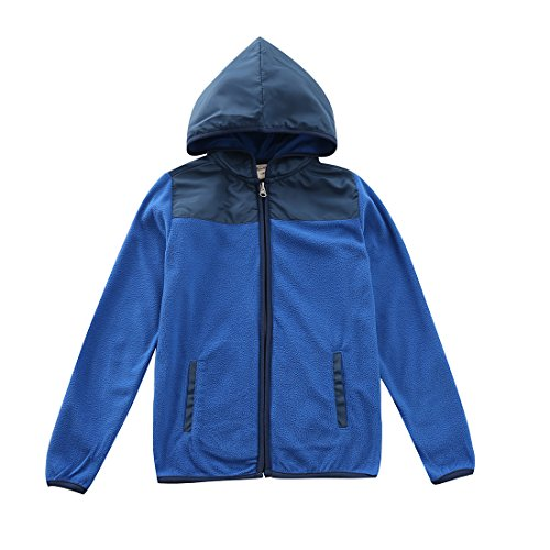 MOMOLAND Boys Long Sleeve Hooded Full Zip Polar Fleece Jackets (8 Years, Deep Blue) - Long Sleeve Polar Fleece Top
