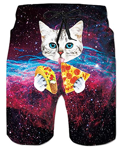 UNIFACO Men Swim Trunks Funny Patterned Outer Galaxy Space Pizza Cat Board Shorts for Hawaiian Beach Party Medium