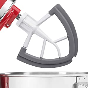 LELEKEY Replacement Kitchenaid Mixer Attachments 5 Qt Tilt Head,Permanent Coated Metal Body Flex Edge Beater for 5 Quart Kitchenaid Stand Mixer Accessory,Flat Paddle Blade with Silicone Trim Scraper