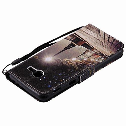 Yiizy Samsung Galaxy J5 (2017) Custodia Cover, Park Street Notte Design Sottile Flip Portafoglio PU Pelle Cuoio Copertura Shell Case Slot Schede Cavalletto Stile Libro Bumper Protettivo Borsa