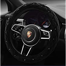"""Black Color Winter Short Plush Car Steering Wheel Cover Crystal Rhinestone Auto Fur Steering-Wheel Covers Cases Universal Size 15"""""""