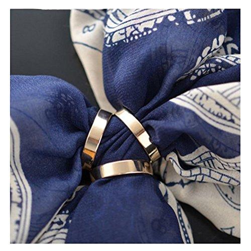 3 anillos de moda elegante bufanda anillo de seda bufanda broche broche Pin para mujer, Dorado, Talla única